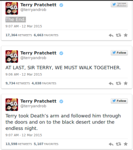 Terry Pratchett last tweets